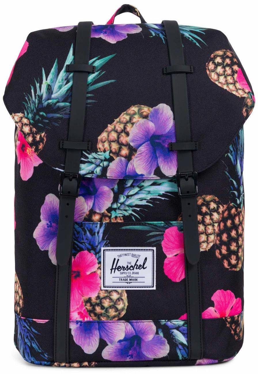 Herschel Rucksack mit Laptopfach, »Retreat, Black Pineapple/Black Rubber«