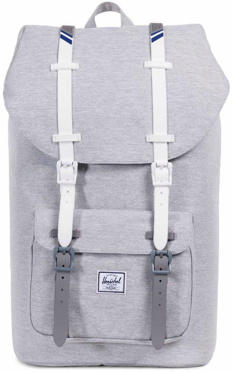Herschel Rucksack mit Laptopfach, »Little America, Light Grey Crosshatch/White Rubber«