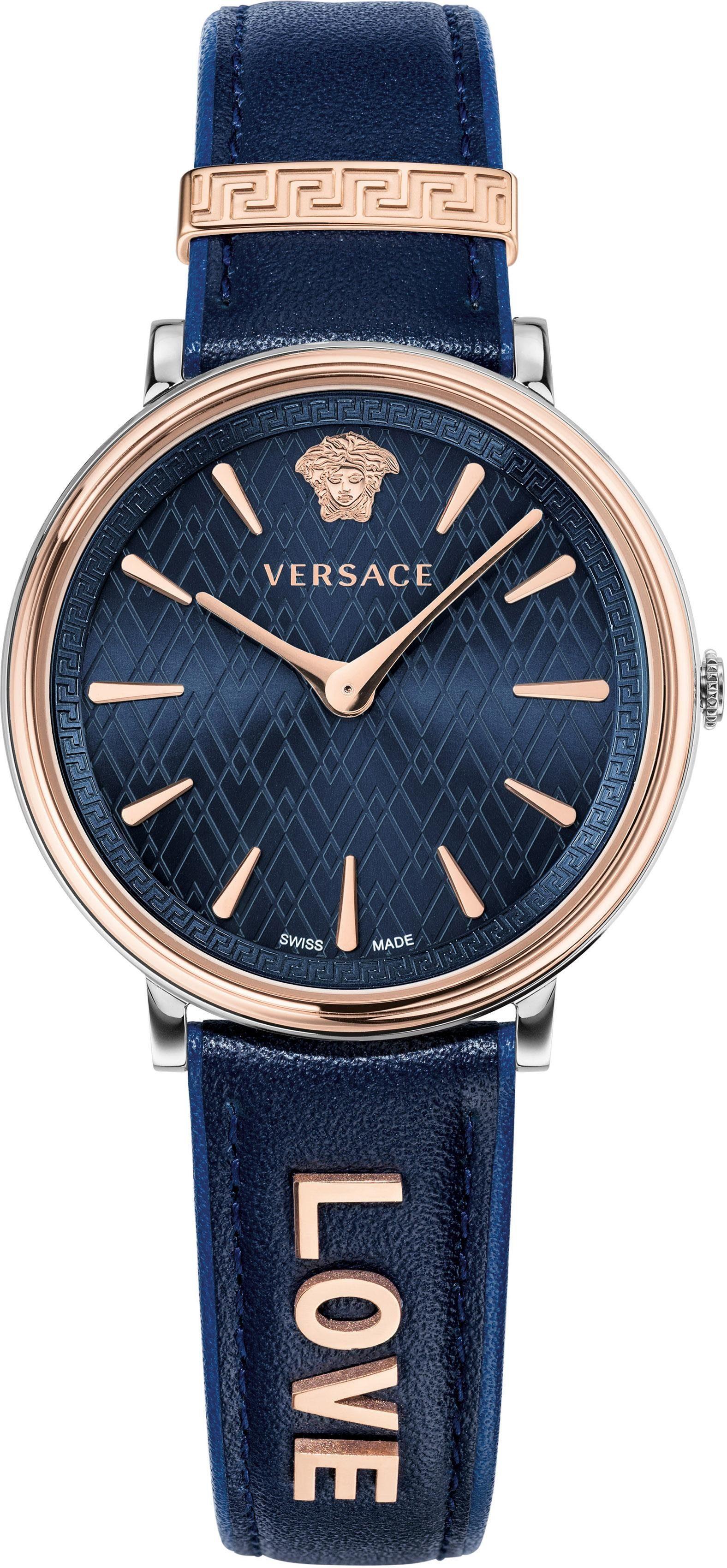 Versace Schweizer Uhr »V-CIRCLE, VBP090017« (Set, 2 tlg) mit 1 Wechselband aus Leder