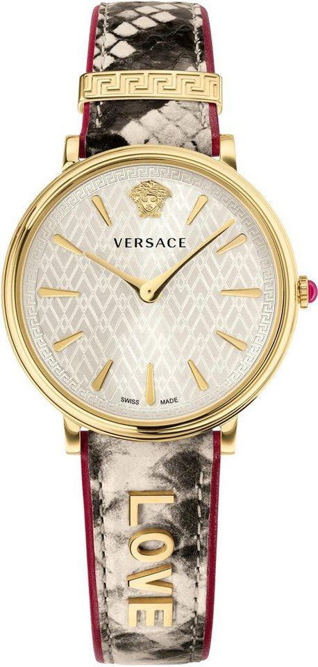 Versace Schweizer Uhr »V-CIRCLE, VBP080017« (Set, 2 tlg) mit 1 Wechselband aus Leder | Uhren > Schweizer Uhren | Bunt | Versace