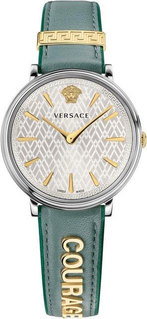 Versace Schweizer Uhr »V-CIRCLE, VBP010017« (Set, 2 tlg) mit 1 Wechselband aus Leder | Uhren > Schweizer Uhren | Grün | Versace