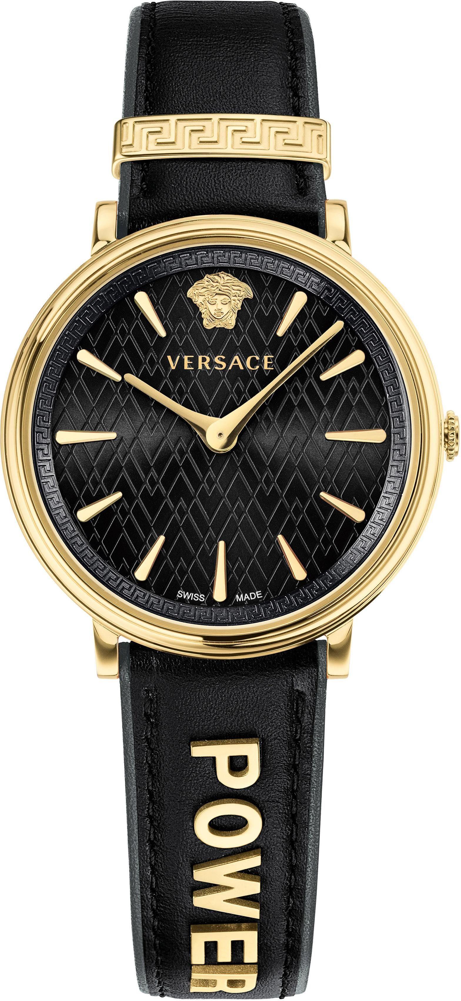 Versace Schweizer Uhr »V-CIRCLE, VBP040017« (Set, 2 tlg) mit 1 Wechselband aus Leder