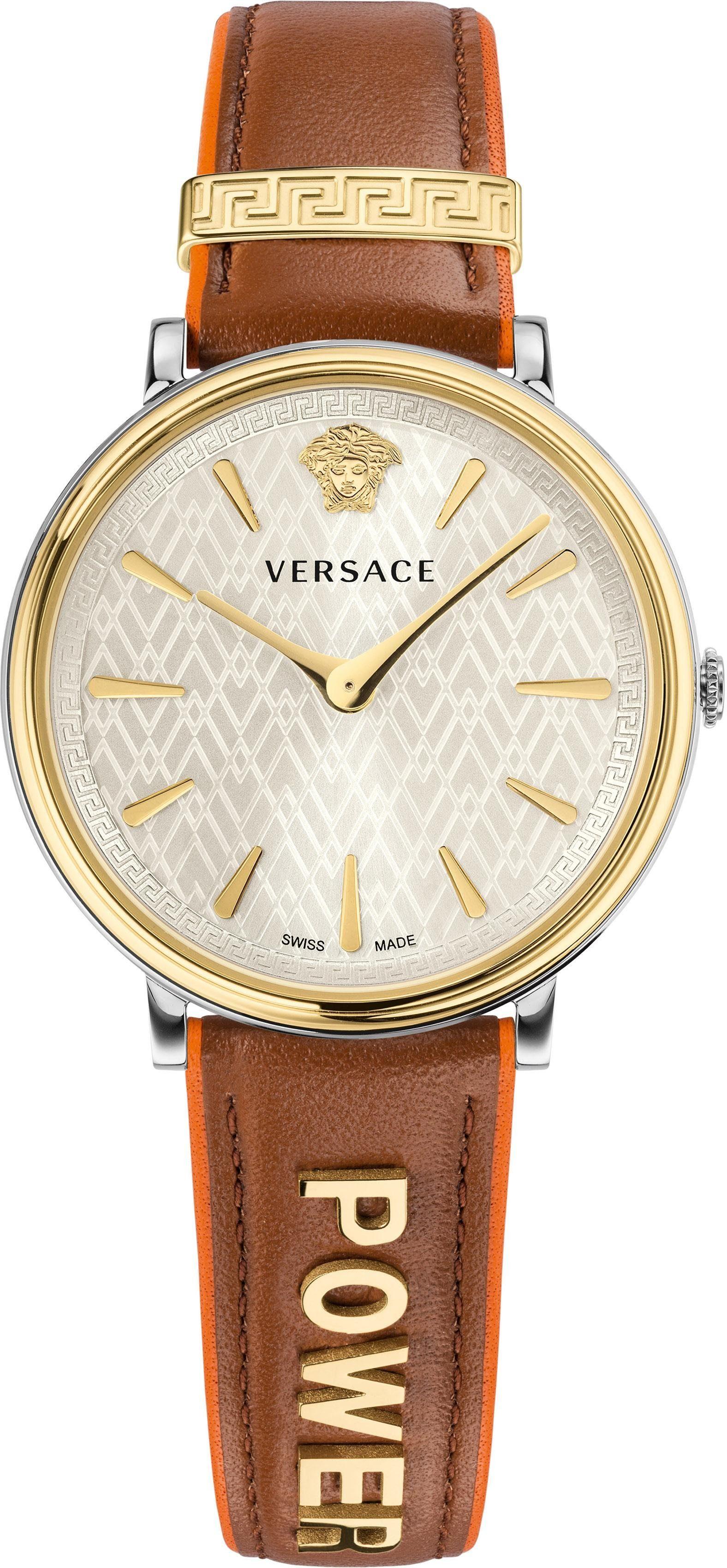 Versace Schweizer Uhr »V-CIRCLE, VBP070017« (Set, 2 tlg), mit 1 Wechselband aus Leder