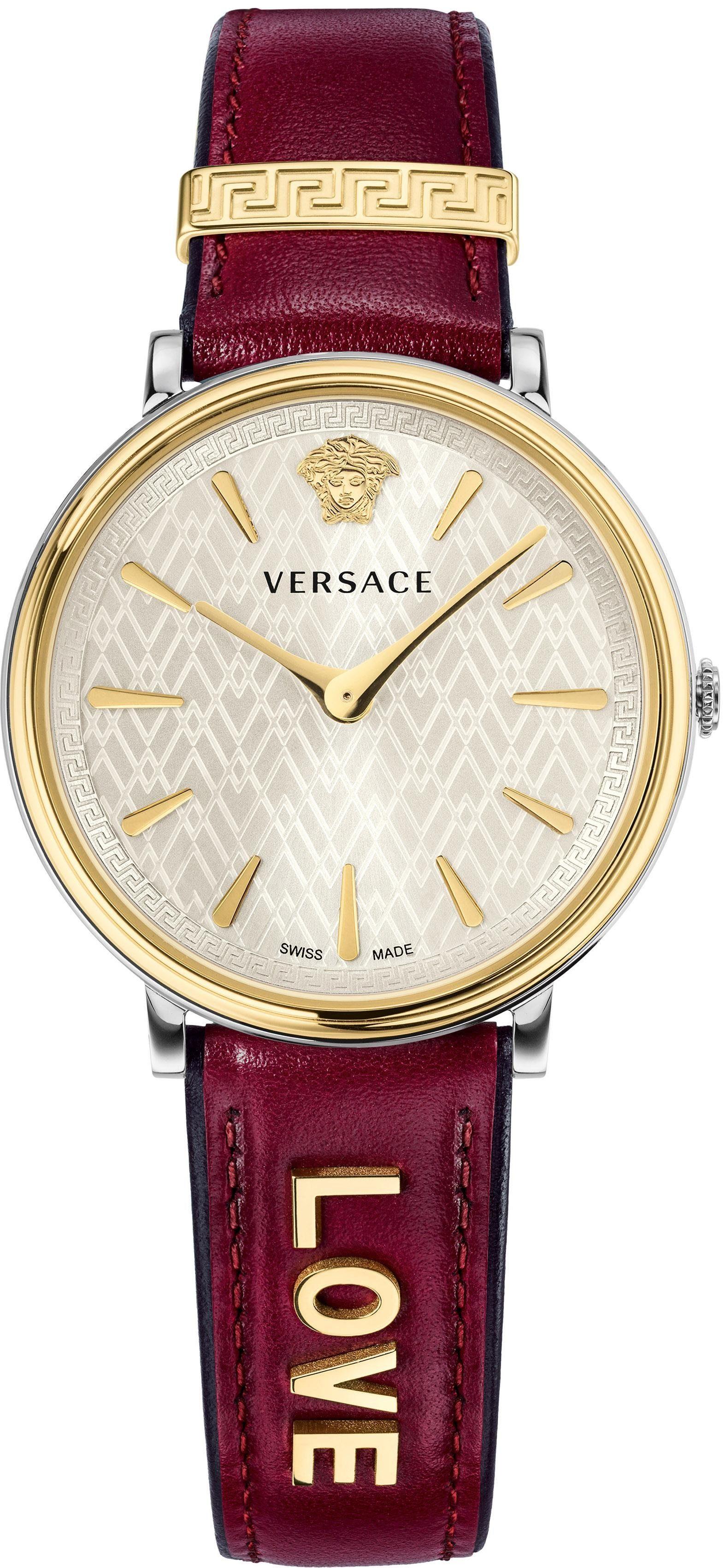 Versace Schweizer Uhr »V-CIRCLE, VBP020017« (Set, 2 tlg) mit 1 Wechselband aus Leder