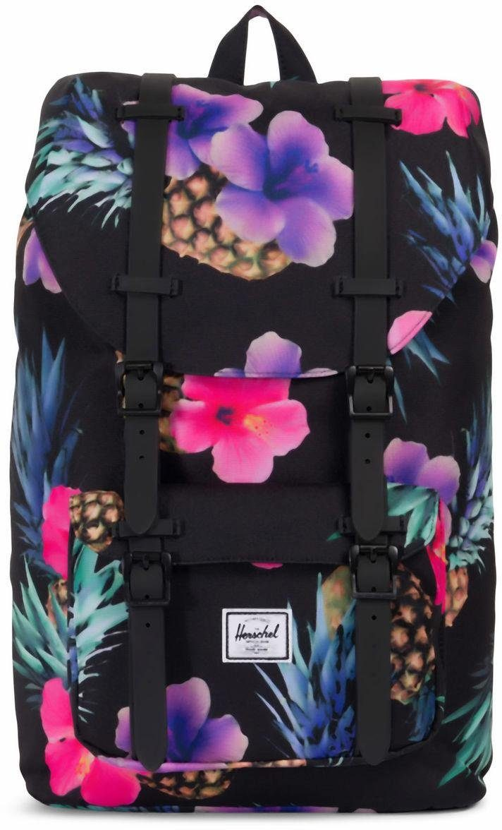 Herschel Rucksack mit Laptopfach, »Little America, Black Pineapple/Black Rubber, Mid-Volume«