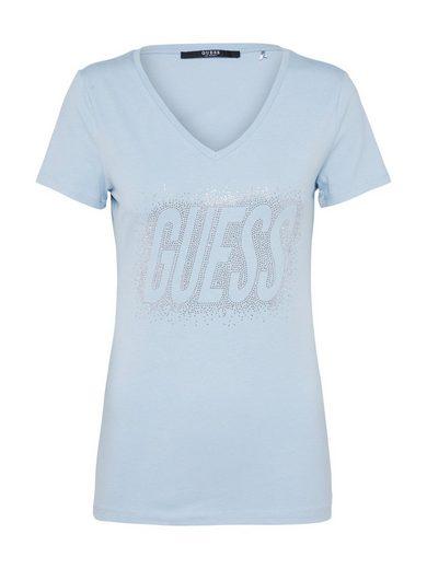 Guess Print-Shirt STUDS LOGO, Ziersteine