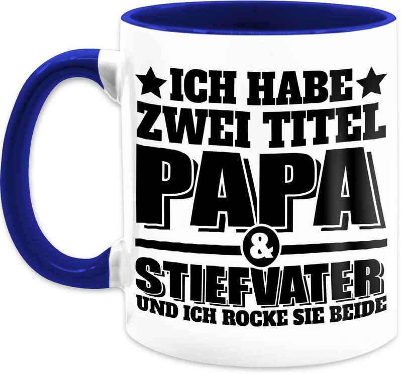 Shirtracer Tasse »Ich habe zwei Titel - Papa und Stiefvater und ich rocke sie beide - schwarz - Vatertagsgeschenk Tasse - Tasse zweifarbig«, Keramik