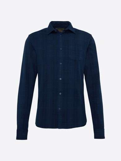 Scotch & Soda Karohemd Ams blauw slim fit indigo oxford check shirt, Knopfleiste