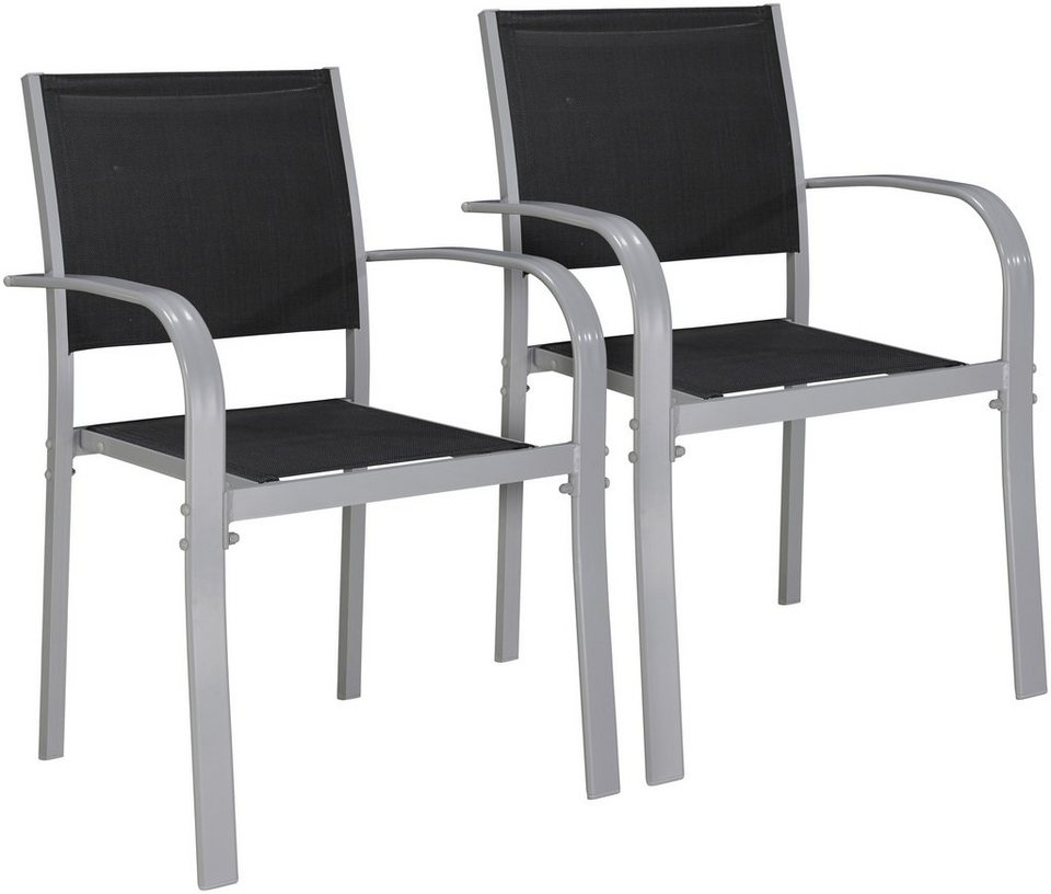 gartenstuhl lima 2er set alu textil stapelbar schwarz online kaufen otto. Black Bedroom Furniture Sets. Home Design Ideas