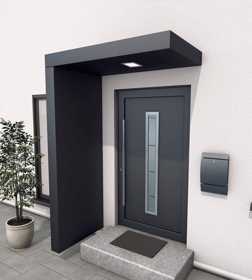 GUTTA Vordach-Set »BS 160«, 160 cm, mit Seitenteil, Aluminium anthrazit | Baumarkt > Modernisieren und Baün > Vordächer | Grau | Aluminium | GUTTA