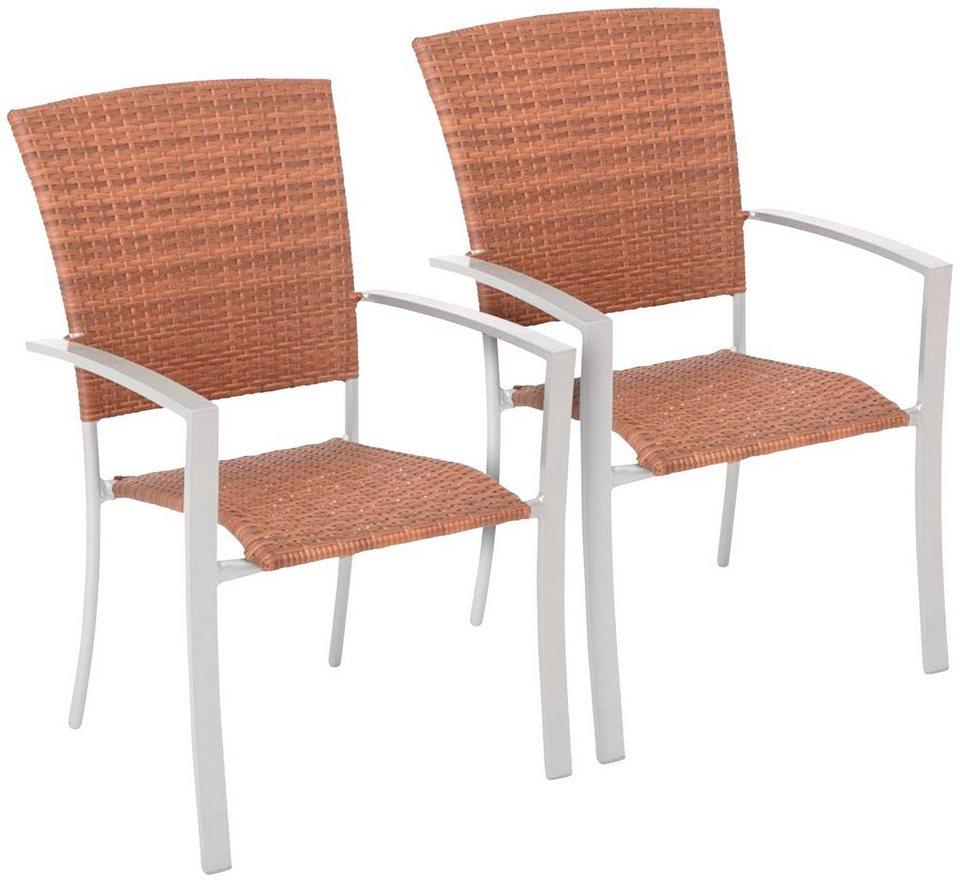 Gartenstühle holz stapelbar  Gartenstuhl »Savonna«, (2er Set), Polyrattan, stapelbar online ...
