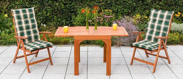 MERXX Gartenmöbelset »Vitoria«, 5-tlg., 2 Klappsessel, Tisch, Eukalyptus, ausziehbar