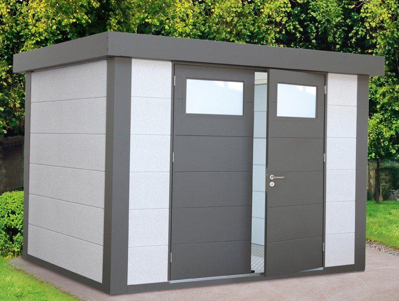 WOLFF Stahlgerätehaus »Eleganto 2721«, BxT: 288x228 cm, Dekorputz weiß
