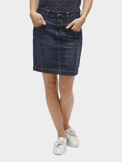 Tom Tailor Volant Rock Jean Skirt With Anchor-embroidery