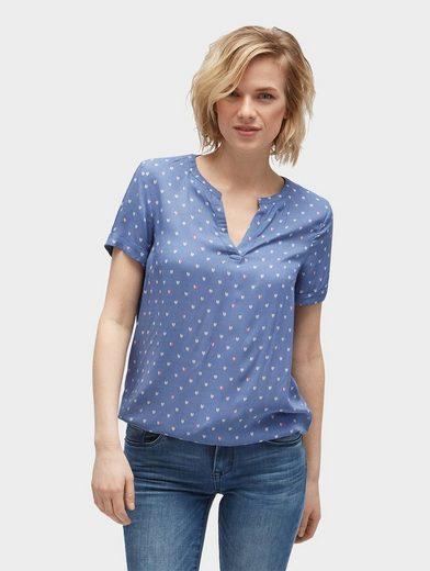Tom Tailor Langarmbluse Bluse mit Herzen-Print