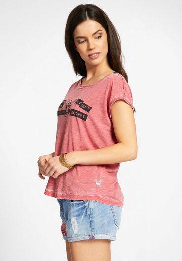 khujo T-Shirt SUNYA LISTEN, mit Statement-Print