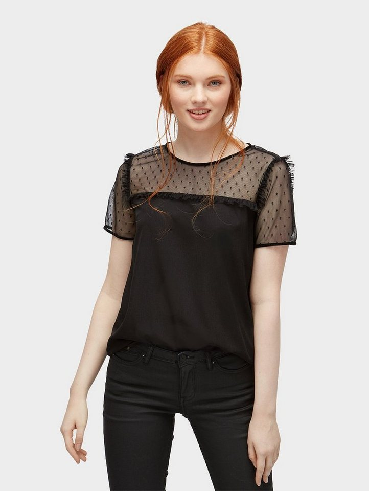 Damen Tom Tailor Denim  Langarmbluse T-Shirt mit transparenter Spitze schwarz | 04059953649800