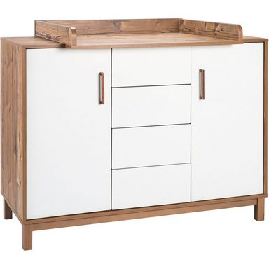 Schardt Wickelkommode Timber, weiß/grau lackiert, Holzdekor Bramberg