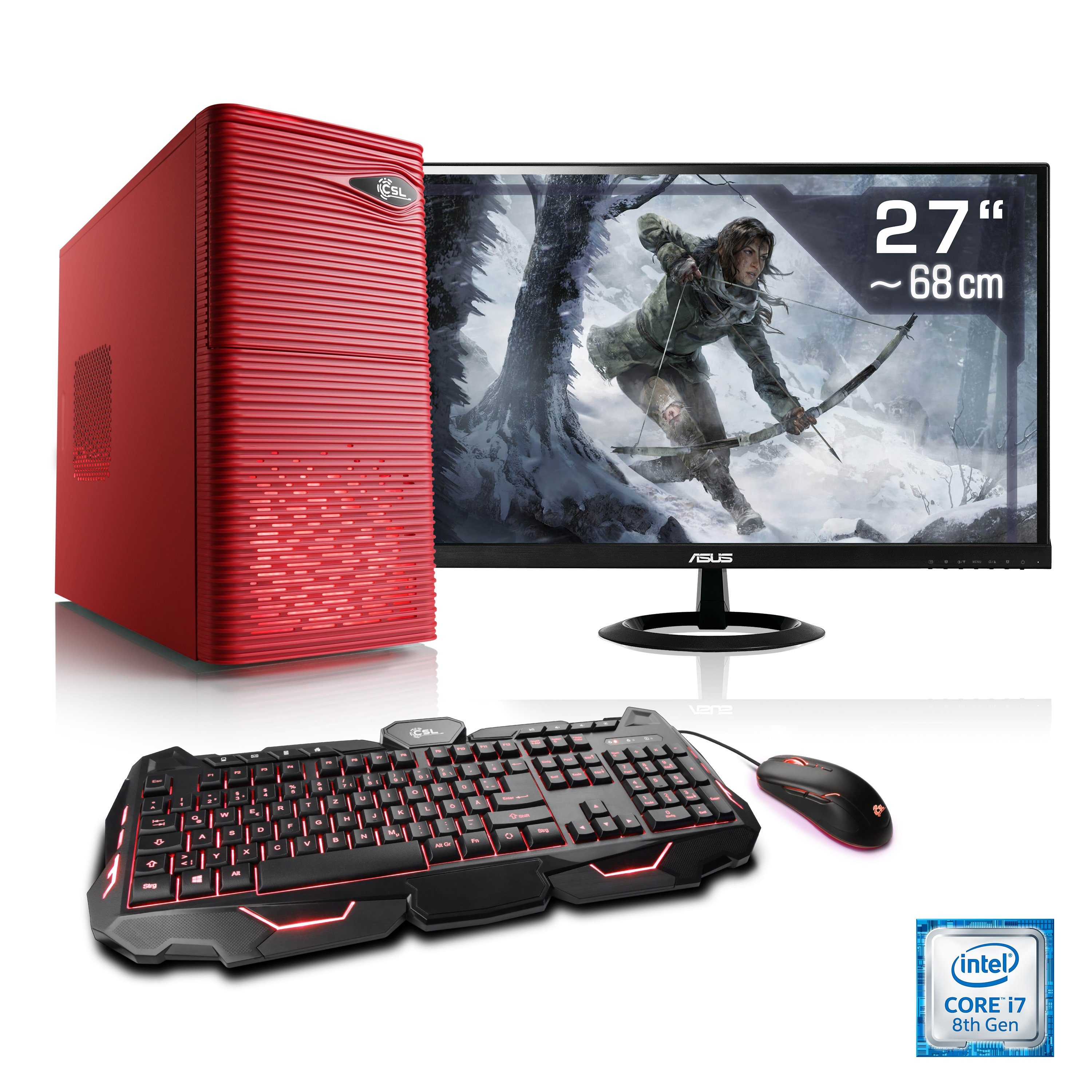 "CSL Gaming PC Set i7-8700 | GTX 1060 | 16GB DDR4 | SSD | 27"" TFT »Speed T9585 Windows 10 Home«"
