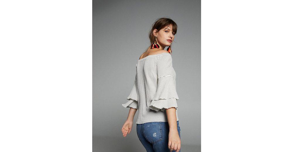 VIOLETA by Mango Off-Shoulder T-Shirt mit Texturmuster Steckdose Mit Paypal Um nOCPXjVL