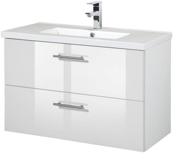 HELD MÖBEL Waschtisch »Trento«, Waschtisch SlimLine, Breite 80 cm, Tiefe 36 cm, (2-tlg.)
