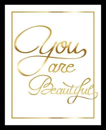 G&C Bild »YOU ARE BEAUTIFUL II gold«, gerahmt