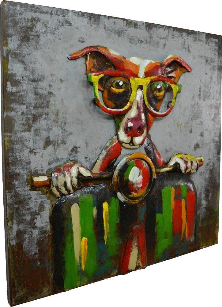 Wandbild »Metall Rollerfahrer«, 80cm x 80cm