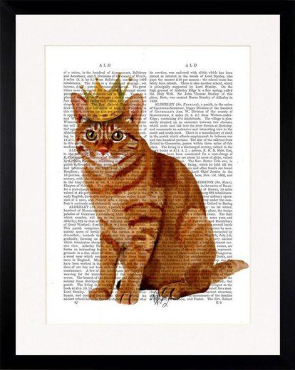 G&C Bild »NEWSPAPER CROWN CAT«, gerahmt