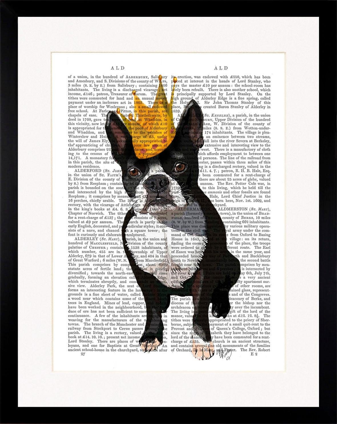 G&C gerahmtes Bild NEWSPAPER CROWN DOG I 35/45 cm