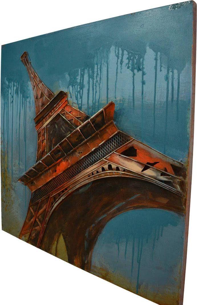 Wandbild »Metall Eifelturm II«, 80cm x 80cm
