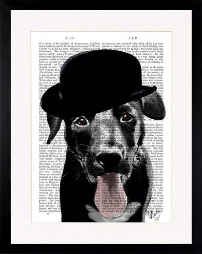 G&C Bild »NEWSPAPER HAT DOG I«, gerahmt