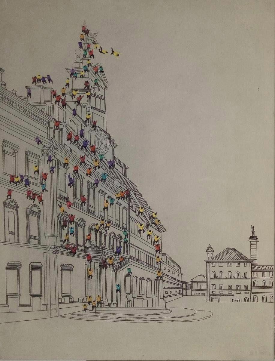 Öl-Wandbild »Menschenmenge I«, 100cm x 75cm