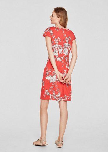 S.oliver Robe Rouge En Crêpe À Imprimé Floral