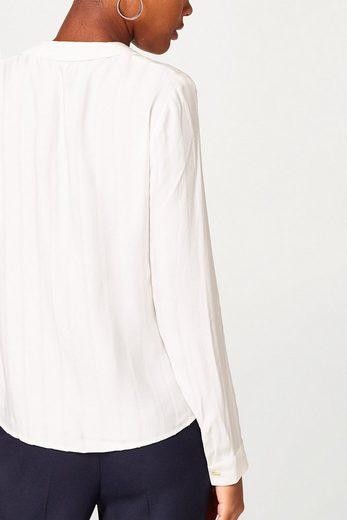 ESPRIT COLLECTION Fließende Bluse mit Web-Streifen und Wickeleffekt