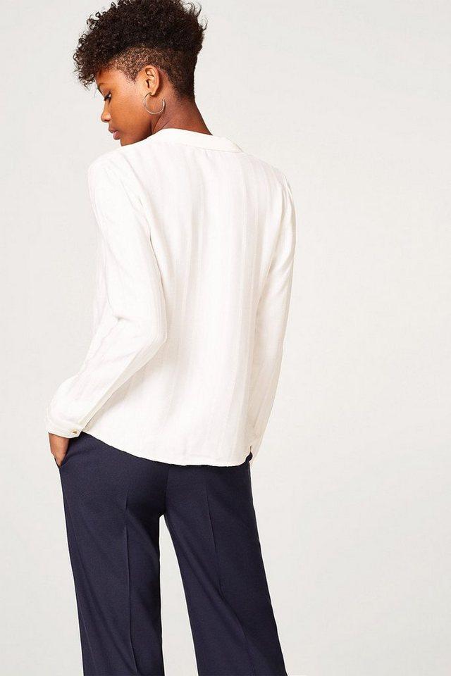 Damen ESPRIT COLLECTION Fließende Bluse mit Web-Streifen und Wickeleffekt weiß | 04060469585322