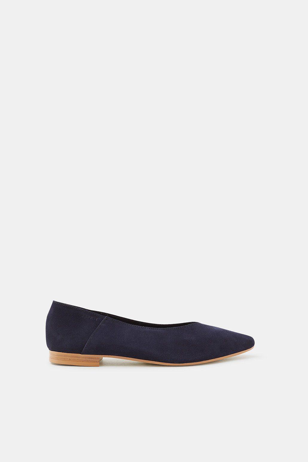 Esprit Slipper aus softem Veloursleder für Damen, Größe 40, Navy