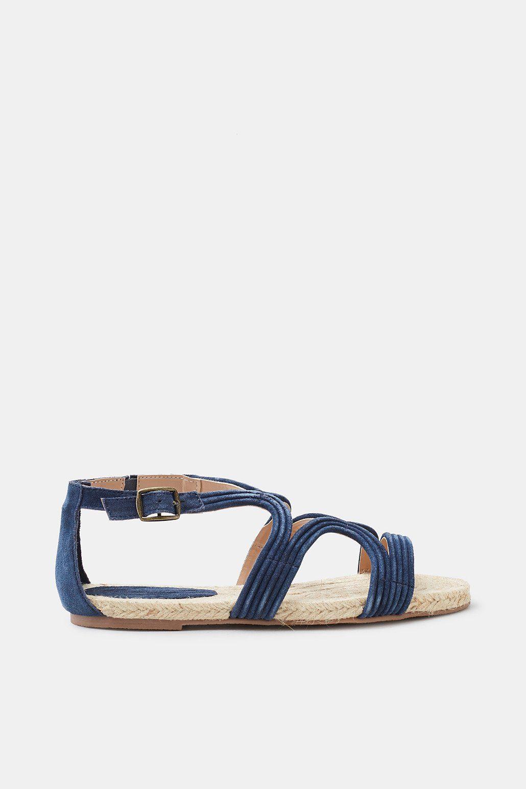 ESPRIT Sandale mit Bast-Sohle und Leder-Riemen  NAVY