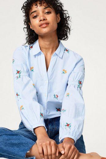 EDC BY ESPRIT Streifen-Bluse mit Stickereien, 100% Baumwolle