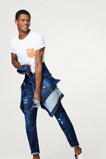 ESPRIT Patchwork-Jeans im Destroyed-Look