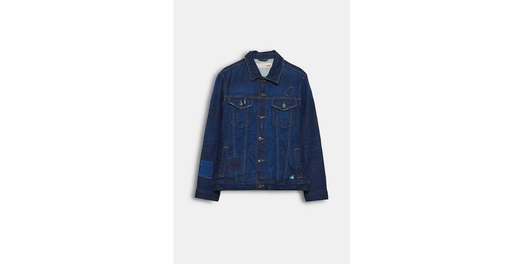 ESPRIT Jeansjacke im Used-Look, aus Recycled Cotton