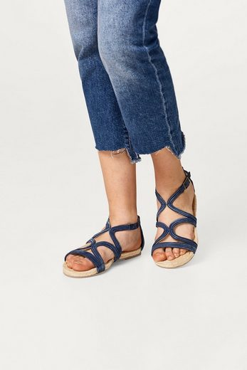 ESPRIT Sandale mit Bast-Sohle und Leder-Riemen