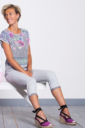 bianca Blusenshirt JULIE, mit femininem fließendem Printeinsatz in der Front