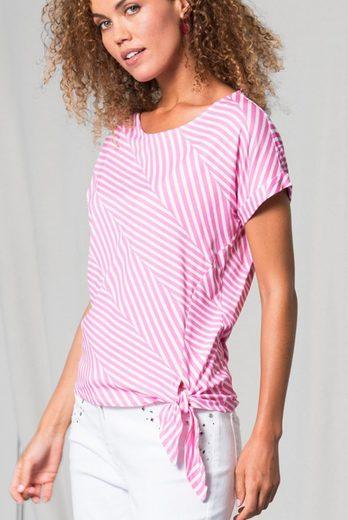 bianca Print-Shirt JULIE, mit effektvollem Streifen-Look, seitlich geknotet