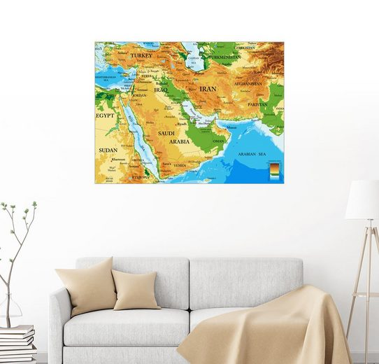 Posterlounge Wandbild »Naher Osten - Topographische Karte«