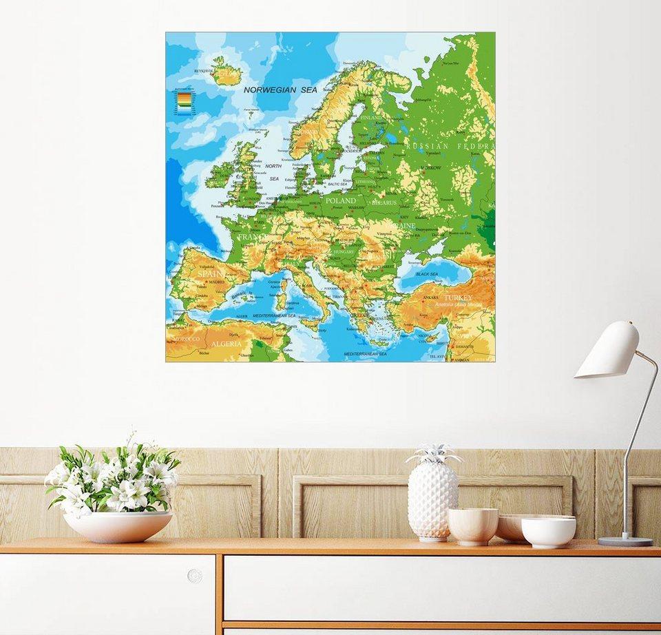 Europa Karte Physisch.Posterlounge Wandbild Europa Physische Karte Otto