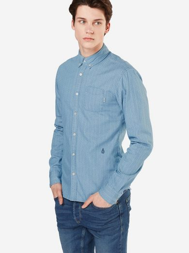 Scotch & Soda Langarmhemd Ams Blauw allover printed button down shirt, Knopfleiste