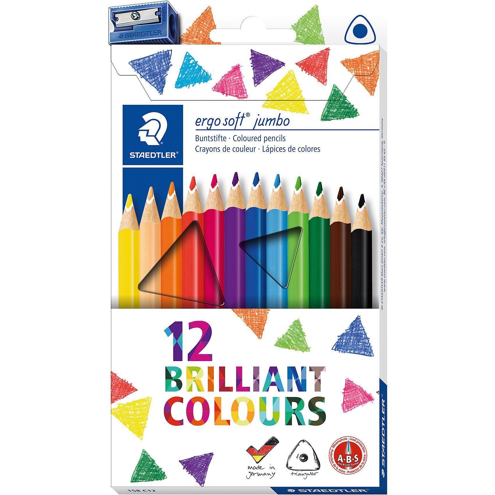 STAEDTLER Buntstifte ergo soft Jumbo, 12 Farben