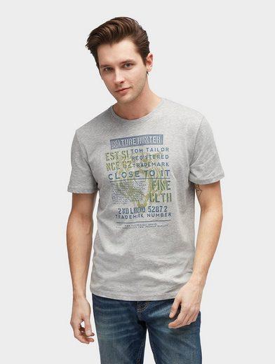 Tom Tailor T-Shirt T-Shirt in Melange-Optik mit Print