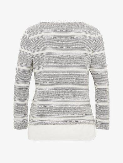 Tom Tailor Sweatshirt Shirt mit Underlayer im Materialmix