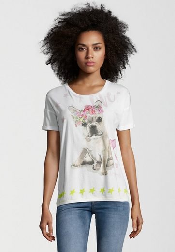 Frogbox T-Shirt DOG FLOWER, Motiv in Aquarell-Optik